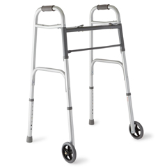 MEDMDS86410W54 - Medline2-Button Folding Walkers with 5 Wheels