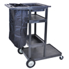 Janitorial Cart (Color: Black, Size : 32 W x 24 D x 50 H)